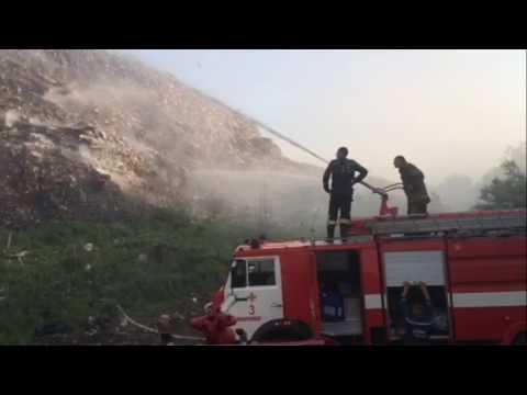 Полтавський район: рятувальники ліквідовують пожежу на міському сміттєзвалищі