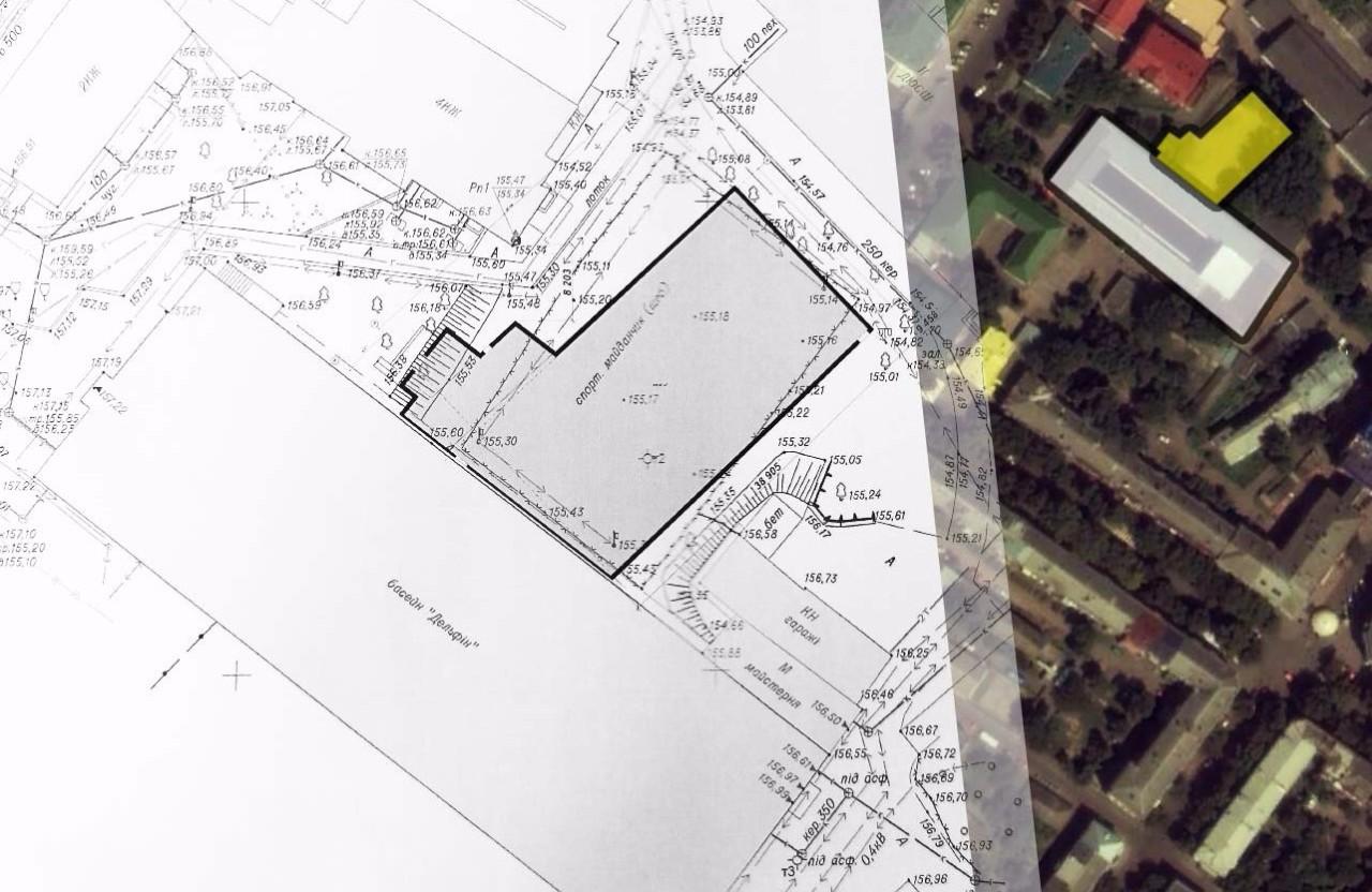 Схема добудови борцівської школи за басейном «Дельфін»