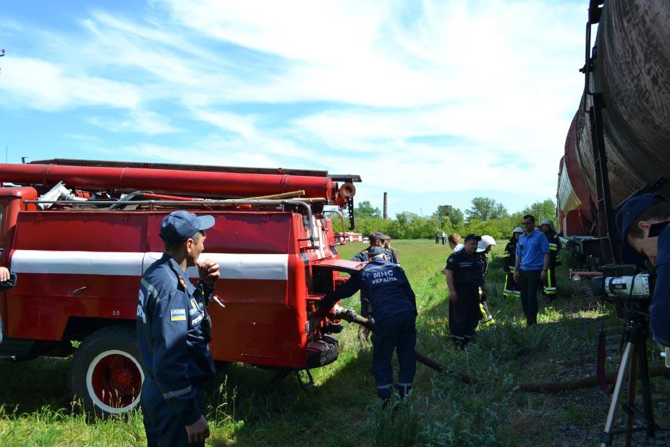 Заправка пожежних автомобілів з пожежного потяга