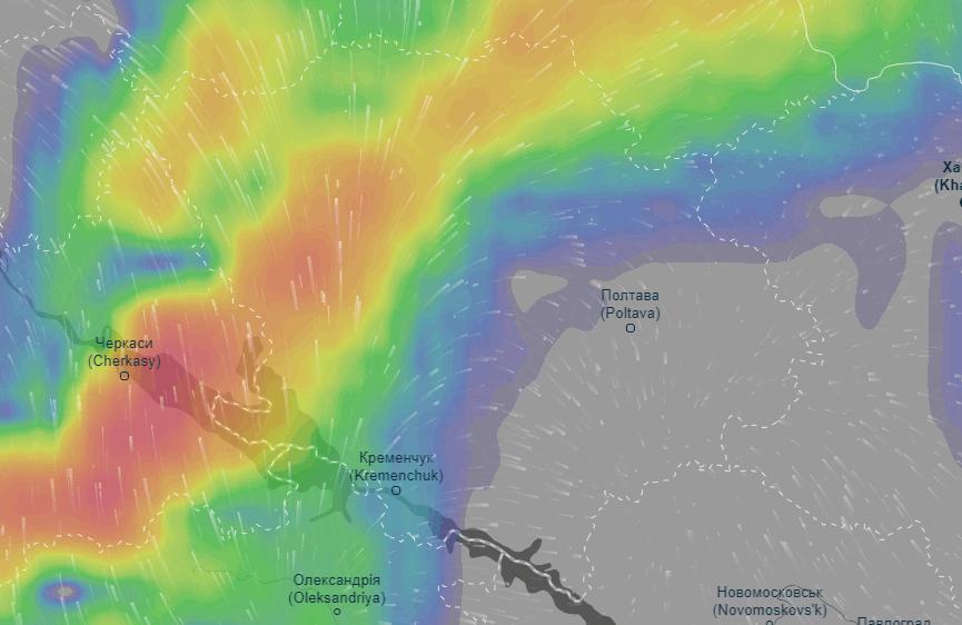Карта опадів (прогноз сервісу Ventusky станом на 6 годину ранку 13 липня)