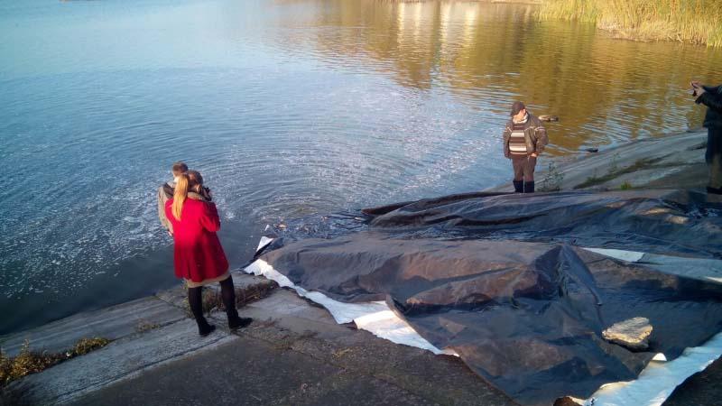 Випуск мільків у ставок в селі Біляки