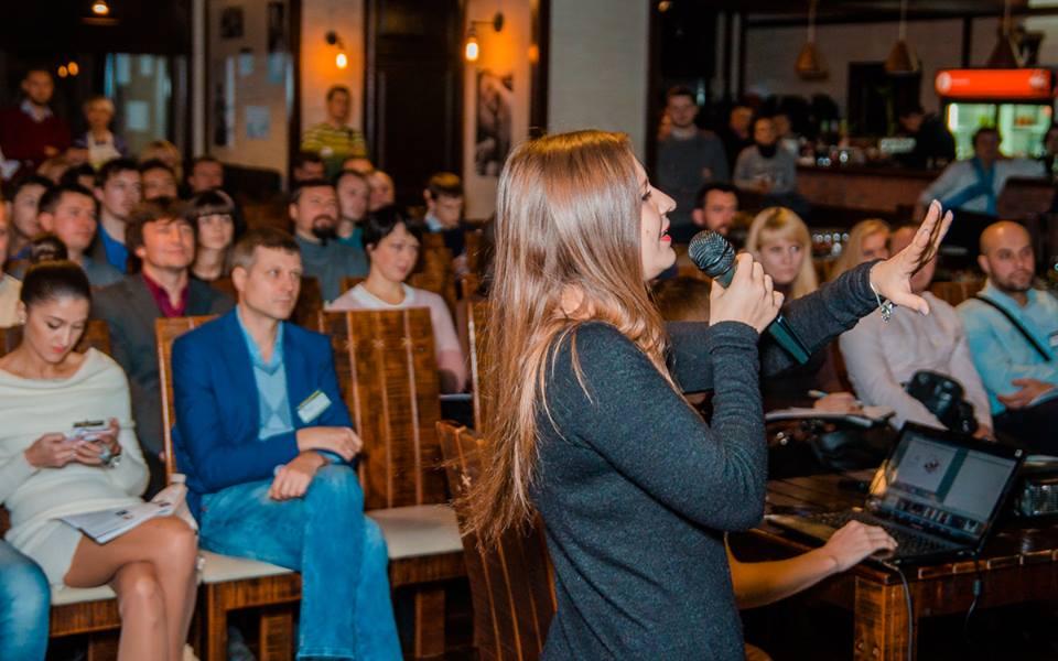 Катерина Бабіч під час своєї міні-лекції