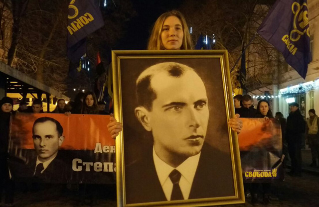 Полтава. Смолоскипна хода на честь 109-ї річниці з дня народження Степана Бандери.