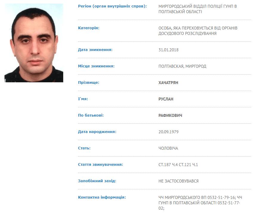 Відомості про розшук Руслана Хачатряна