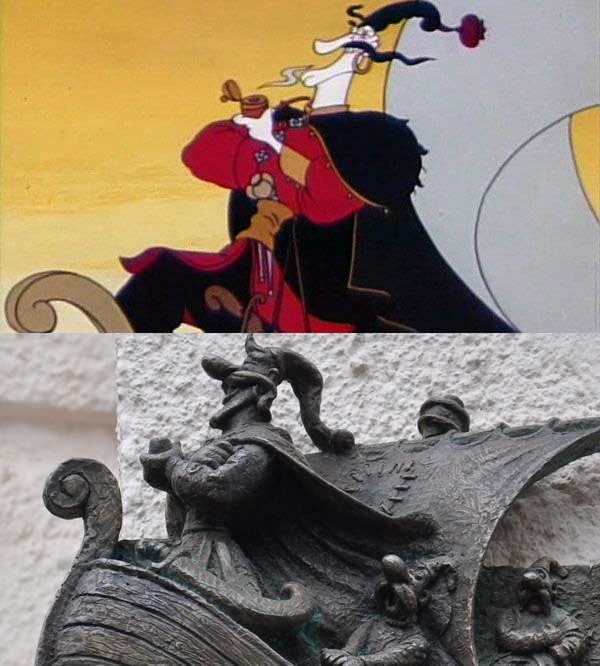 Фрагмент з мультфільму у порівнянні з міні-скульптурою Енея