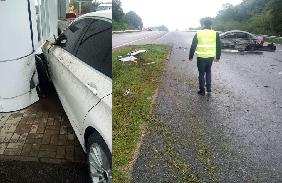 BMW протаранив Huyndai та врізався у заправку