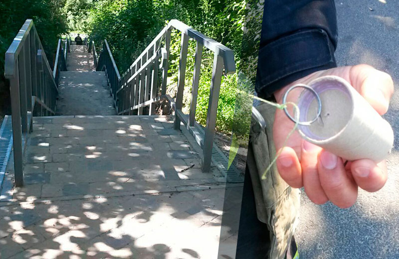 Димову шашку виявили на сходах, що знаходяться праворуч від центрального входу до Дендропарку