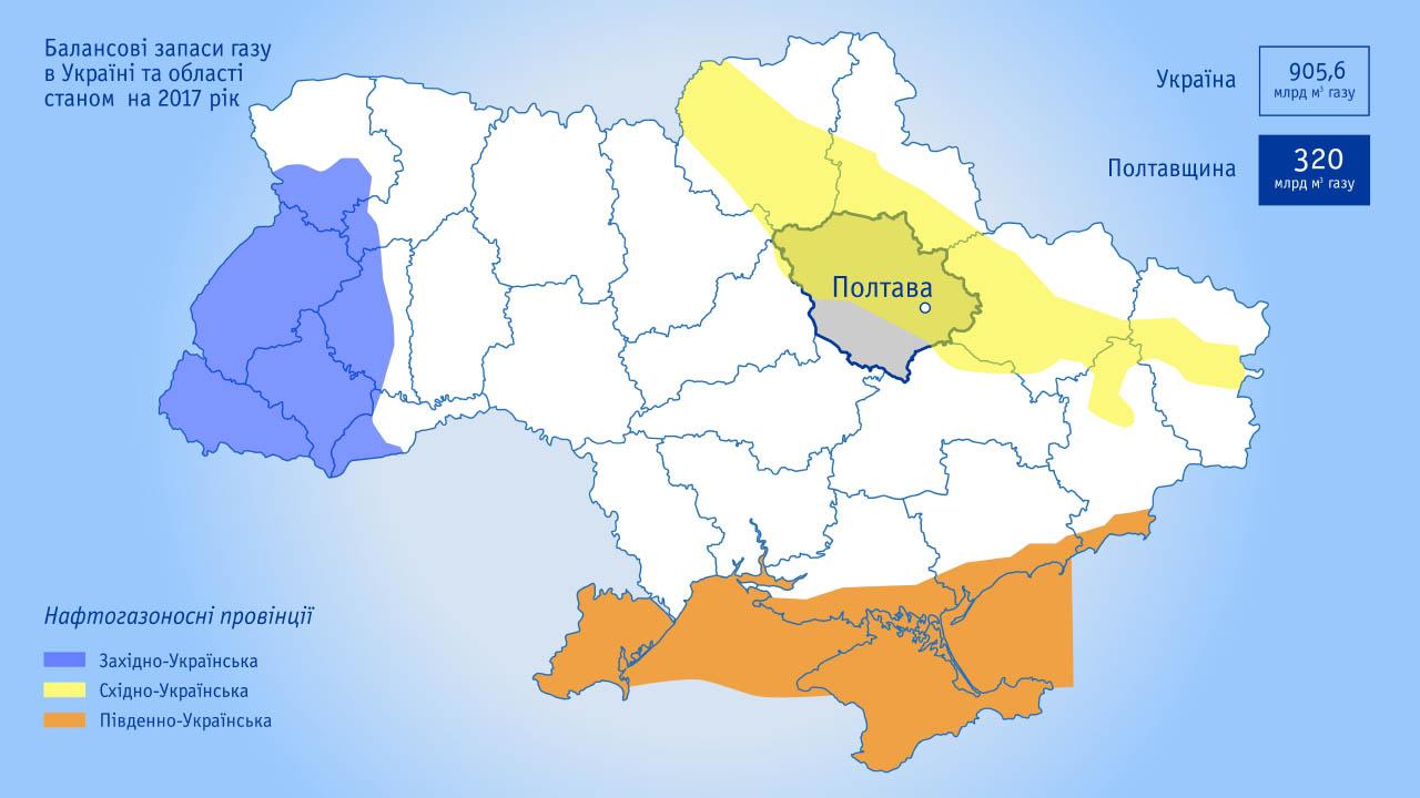 Балансові запаси газу в Україні та області станом на 2017 рік