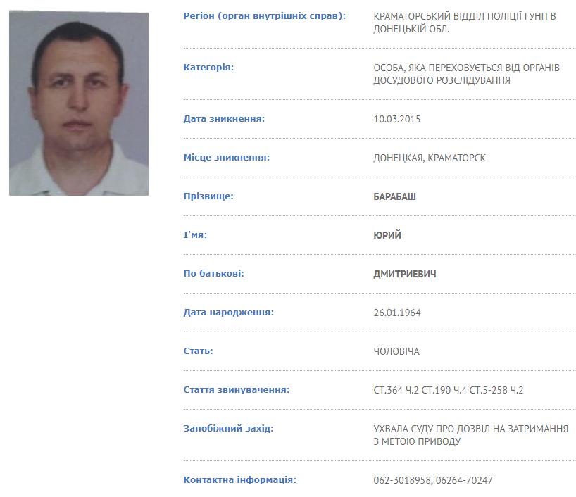 Розшукова картка Юрія Барабаша з реєстру МВС