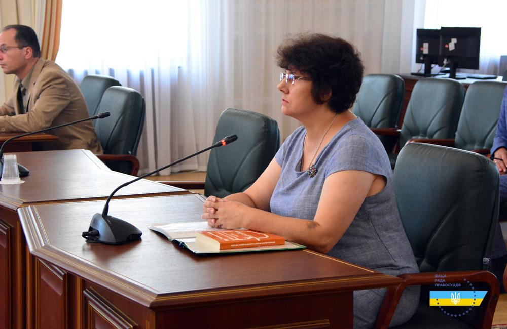Суддя Лариса Кулешова на засіданні Дисциплінарної палати ВПР 03.09.2018