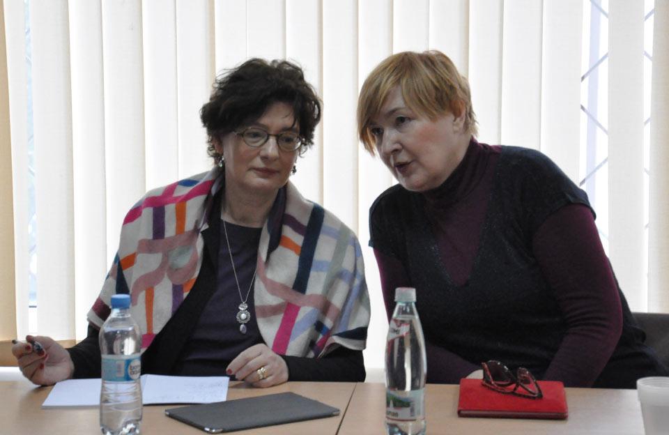 Експертка Європейського центру підготовки суддів пані Естер де Рой з перекладачем
