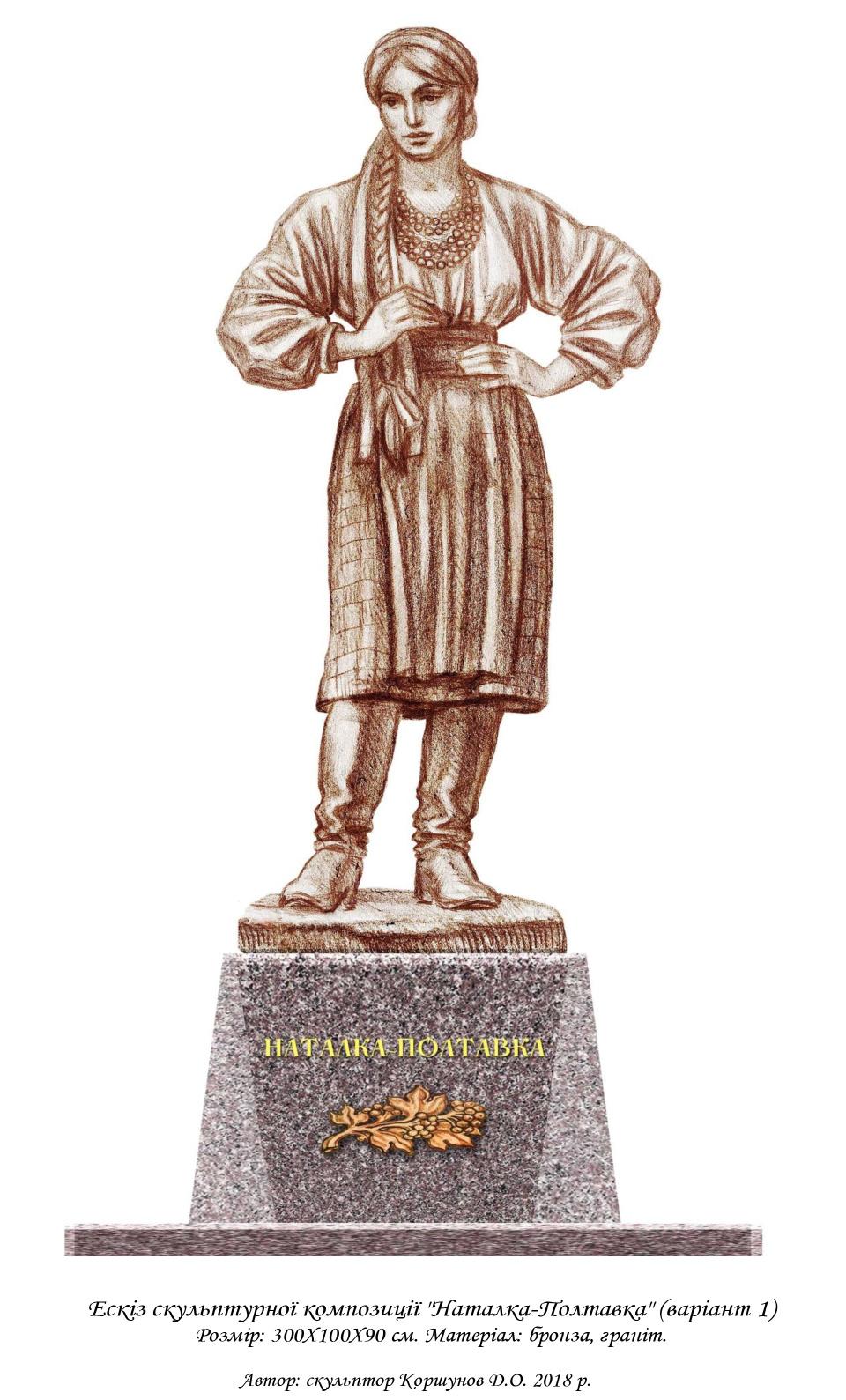 № 11. Ескіз скульптурної композиції «Наталка Полтавка» Автор: скульптор Коршунов Д.