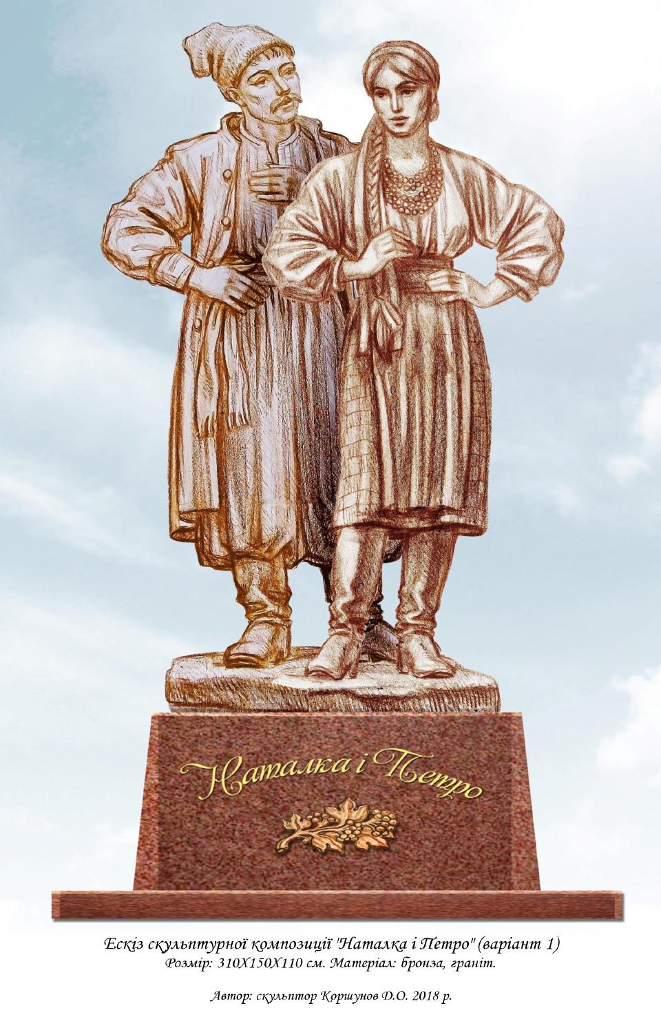 № 7. Ескіз скульптурної композиції «Наталка і Петро» Автор: скульптор Коршунов Д.