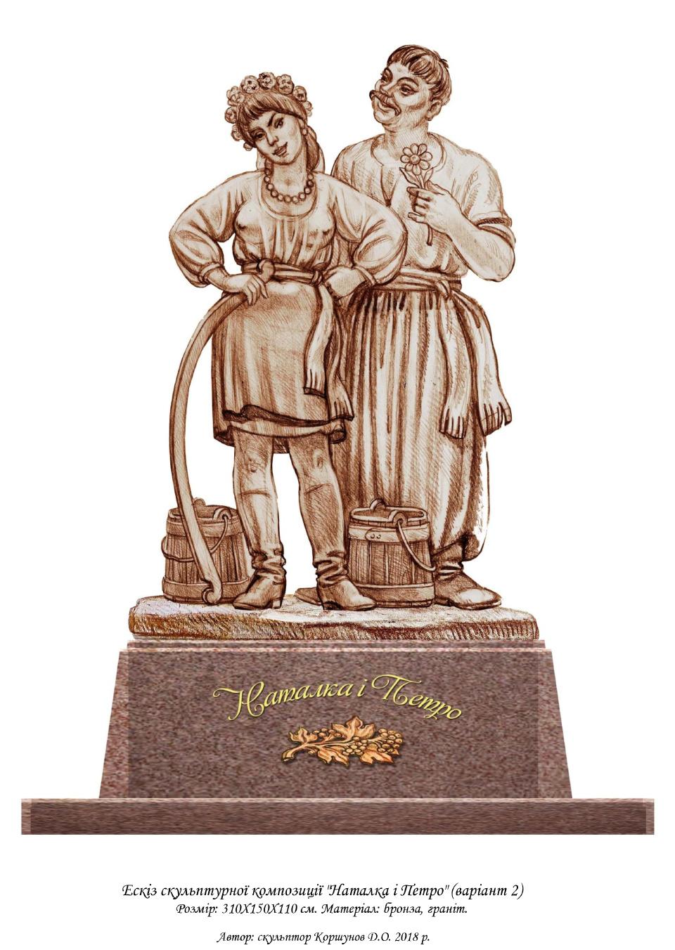 № 8. Ескіз скульптурної композиції «Наталка і Петро» Автор: скульптор Коршунов Д.