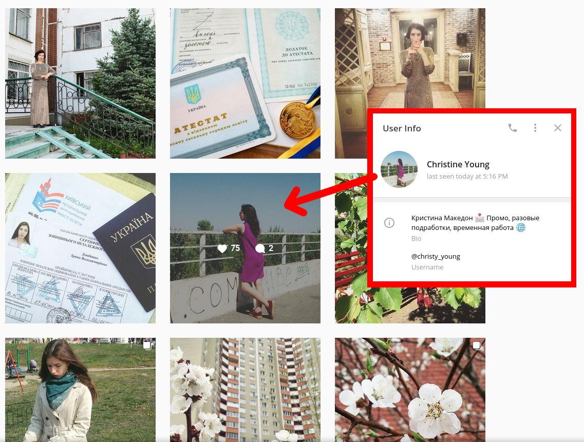 Фото зі сторінки Ірини Дзюбенко в Instagram співпадає з фото у профілі рекрутера