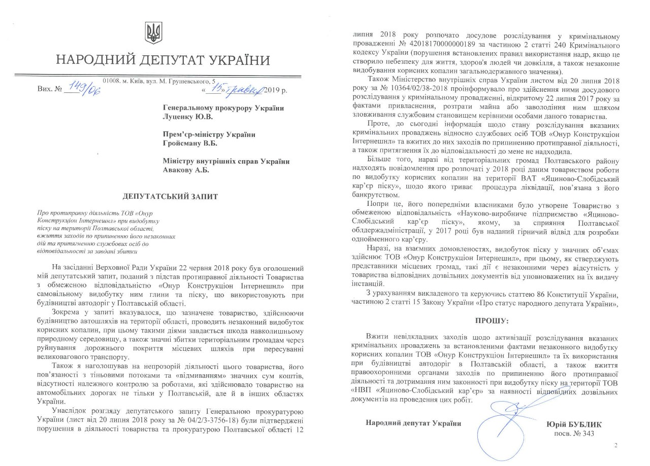 Депутатський запит 2019 року