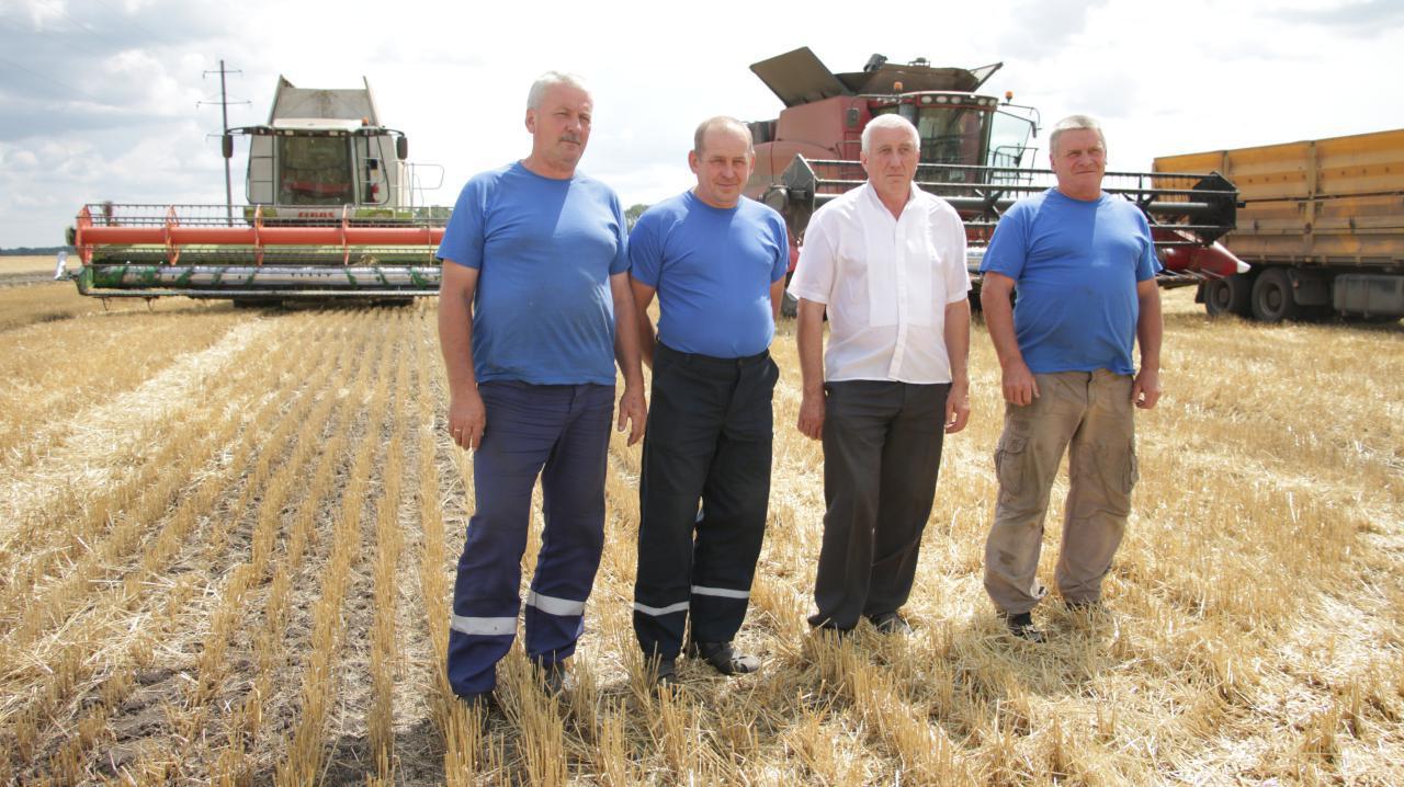 Комбайнери Константин Головко (зліва), Юрій Кормушко, Володимир Шендрик (справа) та Анатолій Губач, старший агроном сівозміни