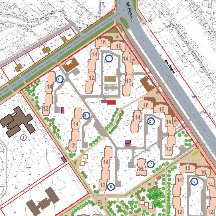 Фрагмент детального плану території мікрорайону Лазурний, який затвердили у 2012 році