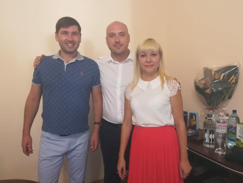 Олександр Кісільов, Сергій Рекотов, Вікторія Христова під час святкування