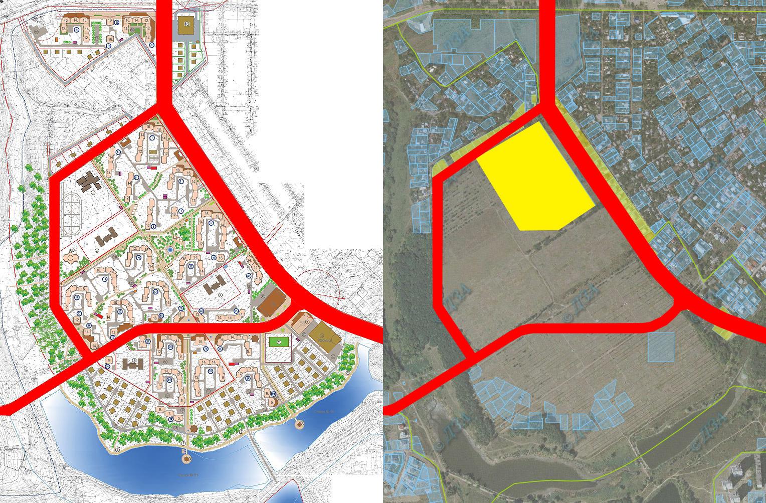 Межі проектних доріг майбутнього мікрорайону проходять через приватні земельні ділянки