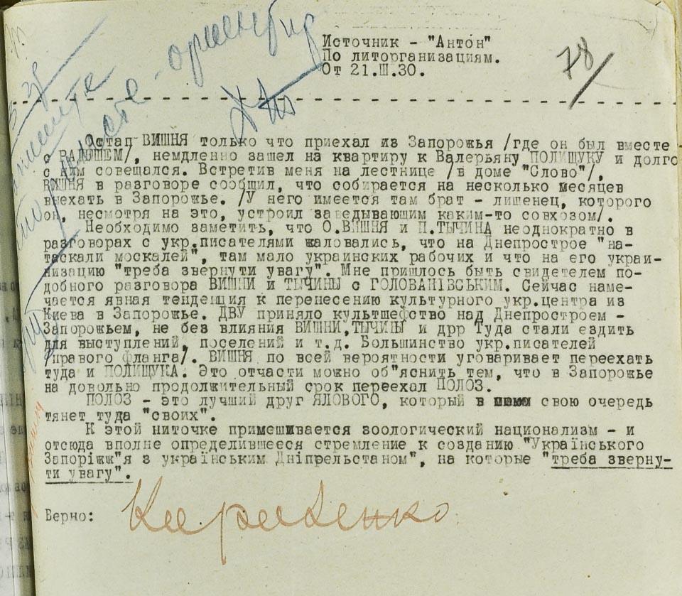 Донесення агента Антона на Остапа Вишню. З архівів КДБ