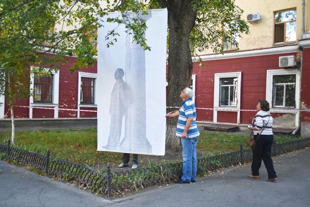 Примірка варіанту скульптури в натуральну величину до вибраного місця