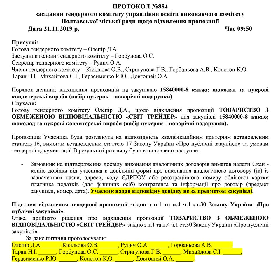 Реакція на аналогічний договір від тендерного комітету управління освіти