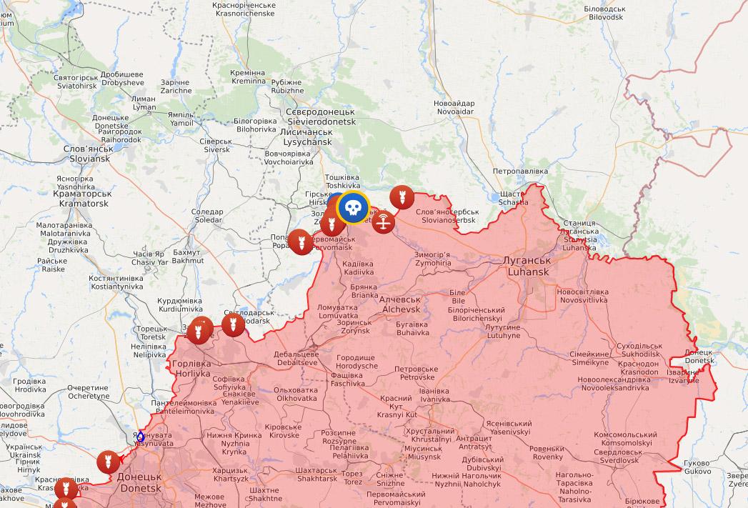 Бойові дії на Сході України | Джерело: liveuamap.com