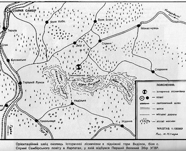 Карта з місцем історичної події