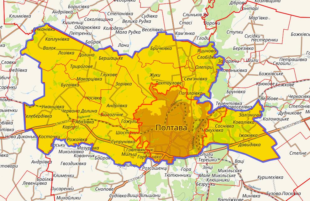Проектні межі Полтавської територіальної громади