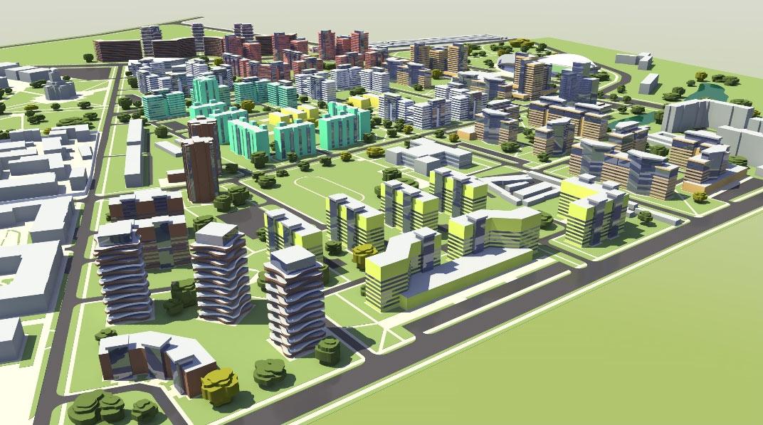 Проект забудови території артскладів (вигляд з вул. Олеся Гончара)