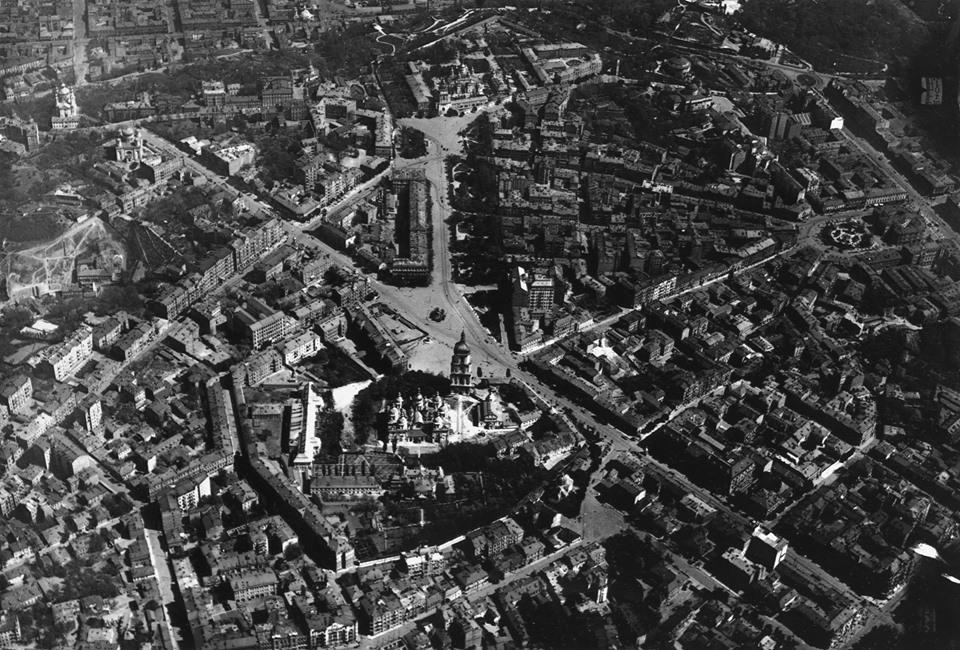 1918 рік. Софіївська площа у Києві, вигляд з пташиного польоту