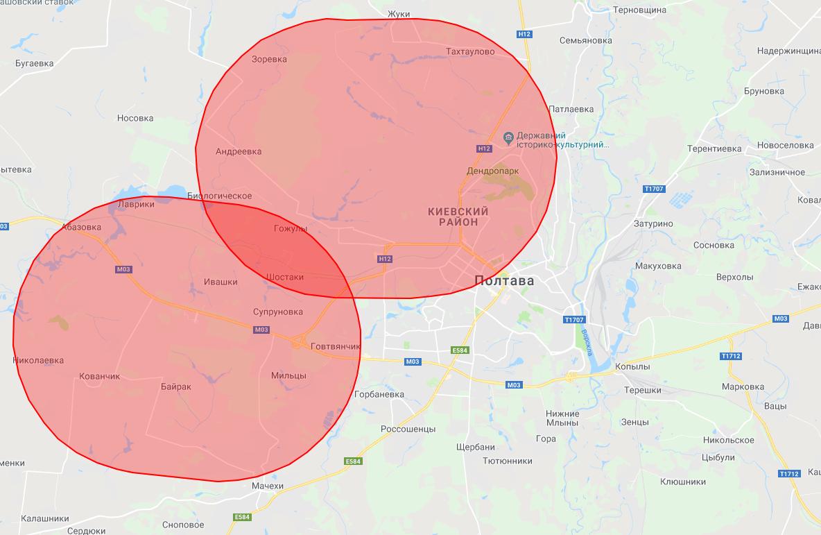 Зона заборони та обмеження використання повітряного простору Полтави, відповідно до карти, яку склала Державіаслужба