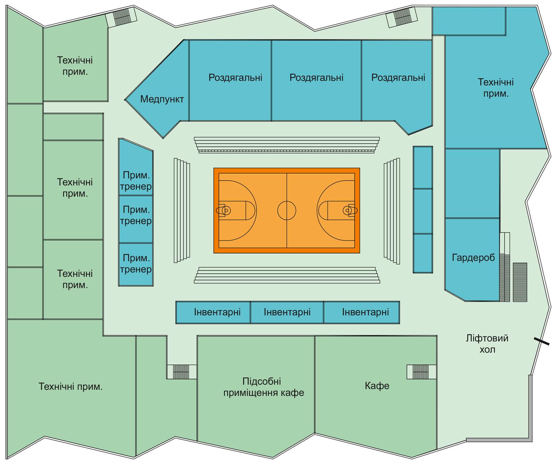Перспективний план першого поверху нового Палацу спорту у Полтаві