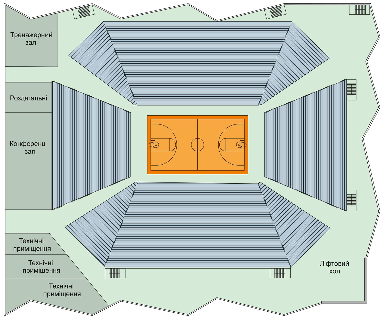 Перспективний план третього поверху нового Палацу спорту у Полтаві