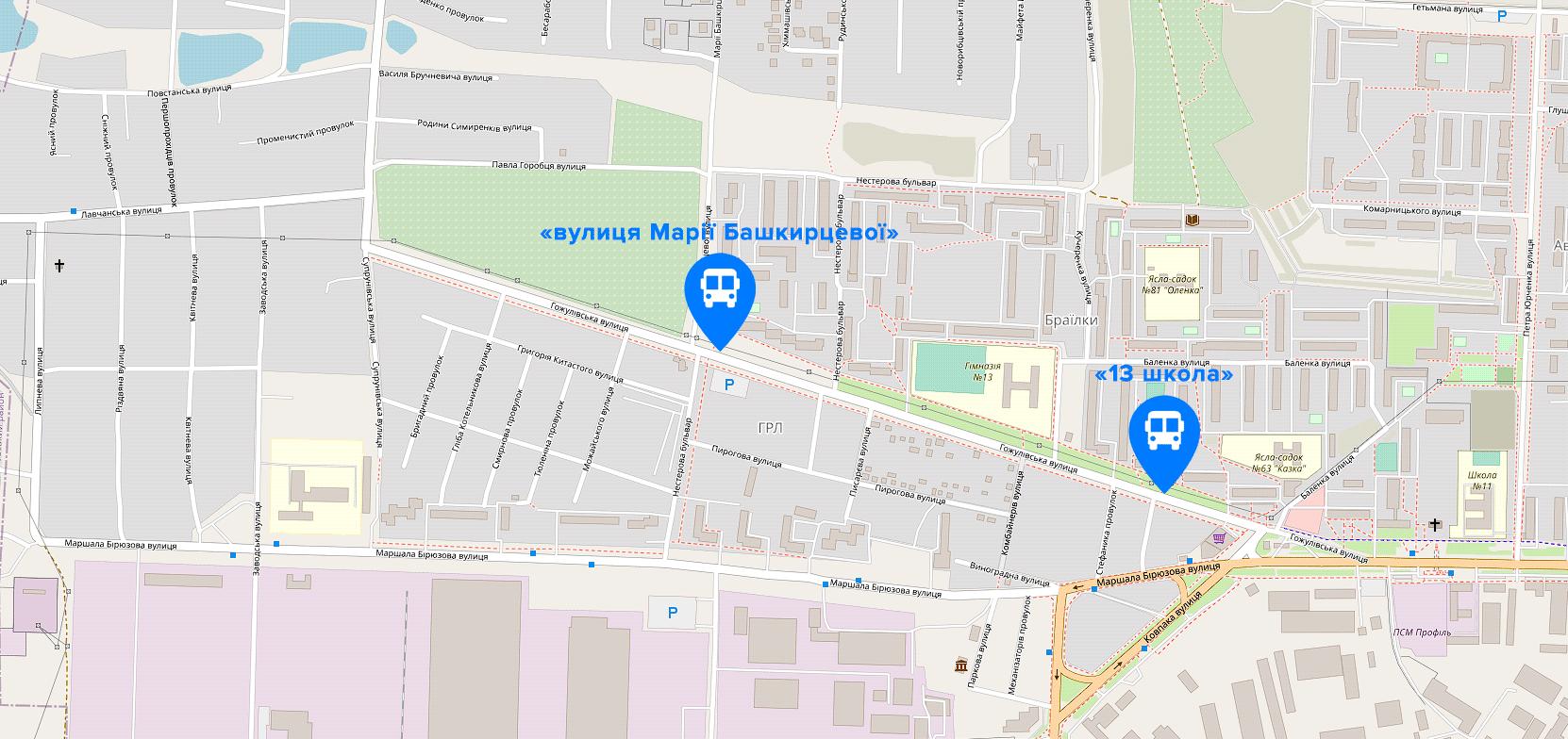 Розташування нових зупинок | Джерело: OpenStreetMap