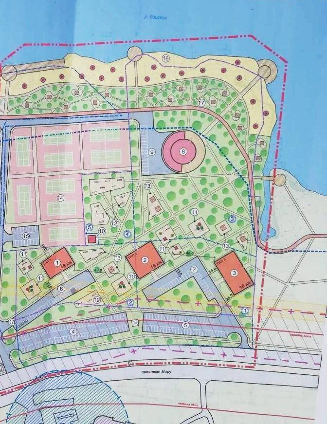Попередні плани забудови ділянки між готелем «Турист» та Прирічковим парком
