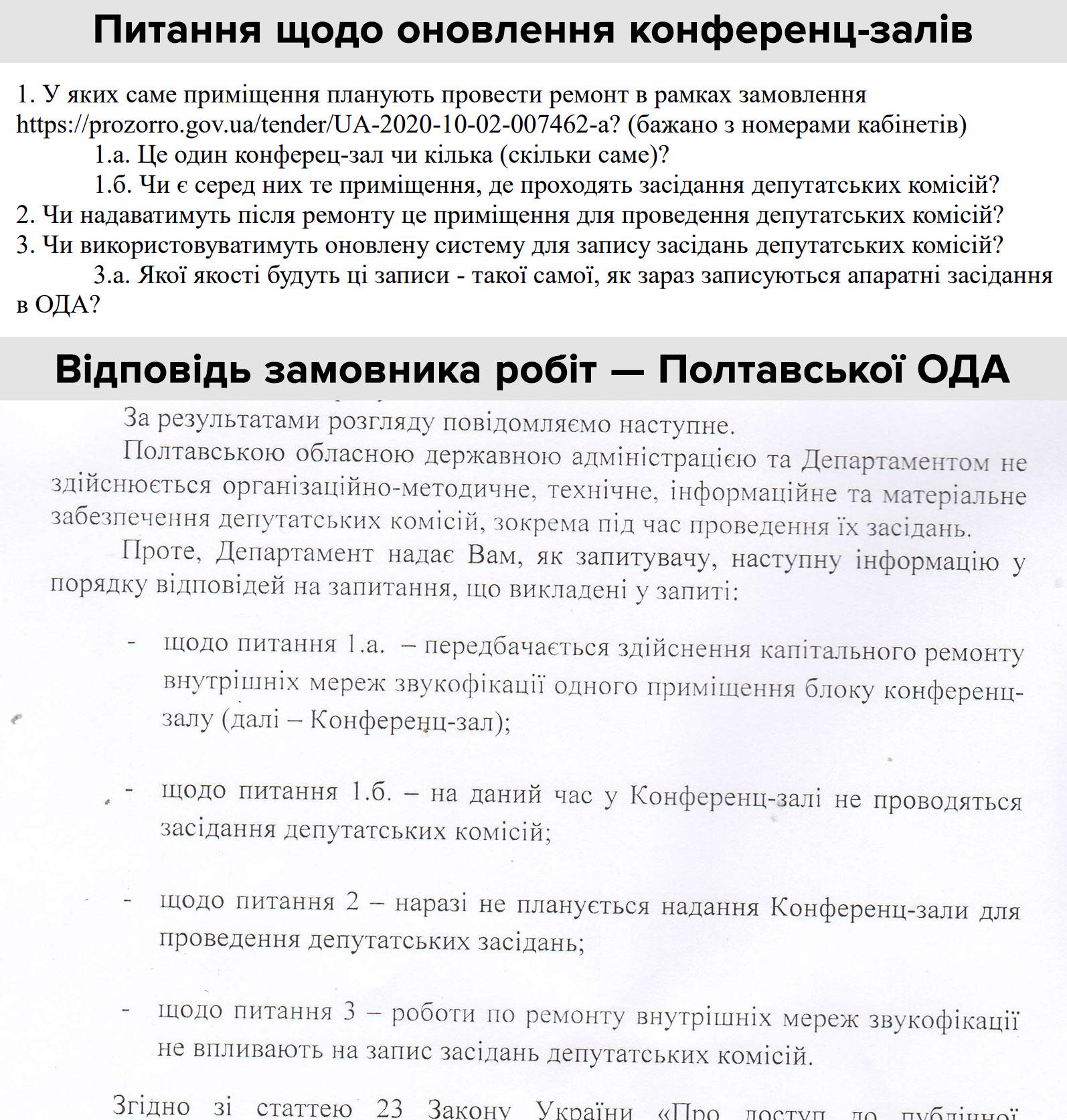 Інформаційний запит та відповідь Полтавської ОДА