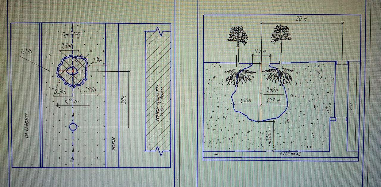 Схема розмірів провалу: глибина 3,6 м, максимальна ширина 6,8 м, відстань до каналізаційного колектору 3 м, відстань до найближчого оглядового колодязя — 20 м