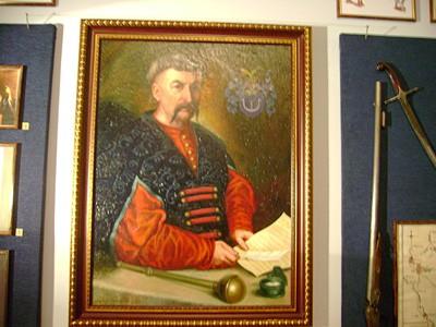 Портрет Пилипа Орлика у експозиції музею Поле Полтавської битви