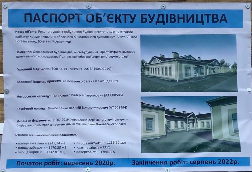 Паспорт будівництва двох нових корпусів онкодиспансеру у Кременчуці