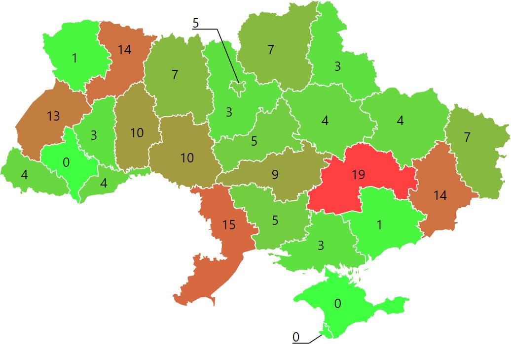 Мапа звернень щодо проблем фінансування судів у 2021 році
