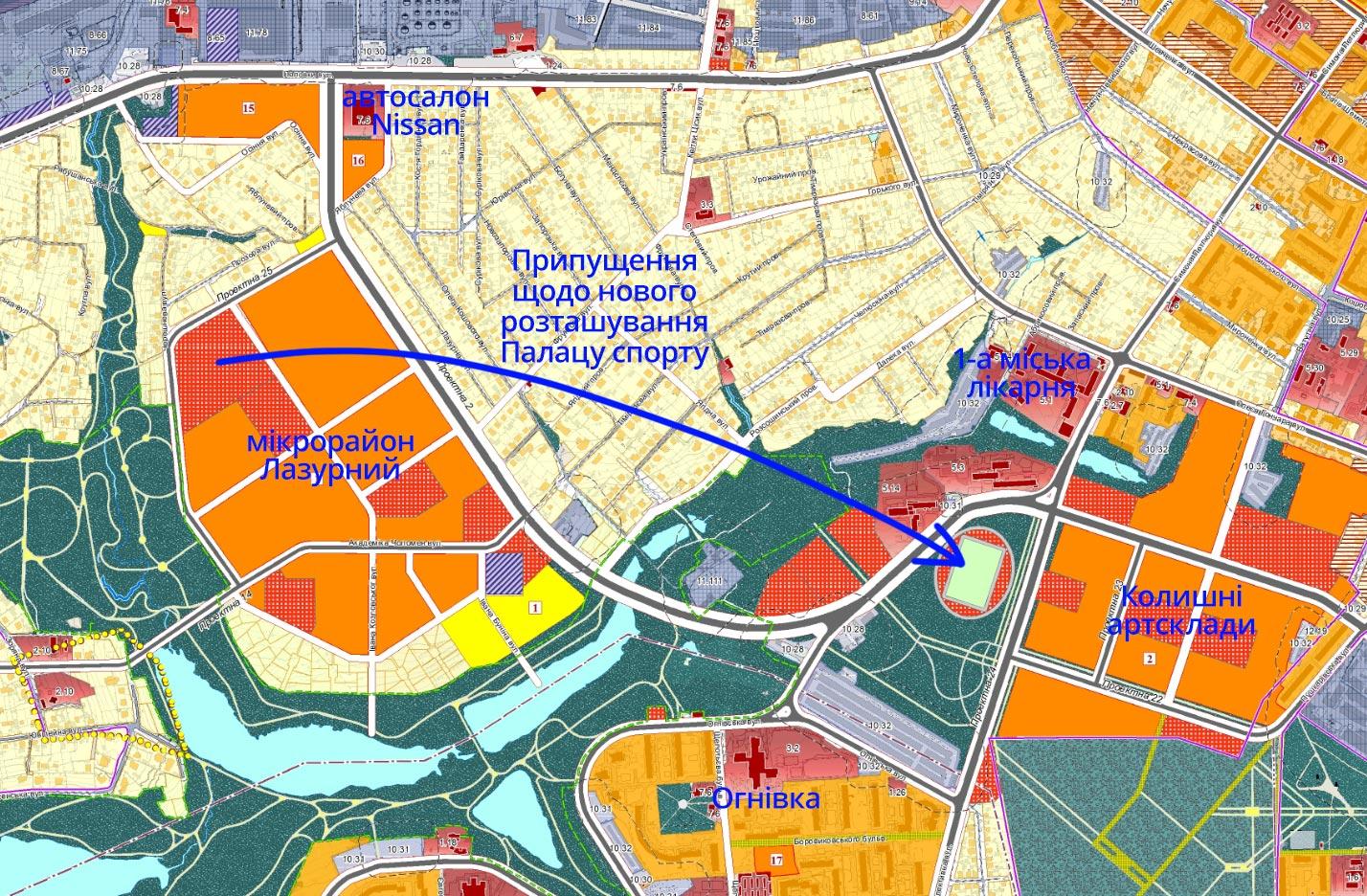 Припущення щодо нового розташування Палацу спорту