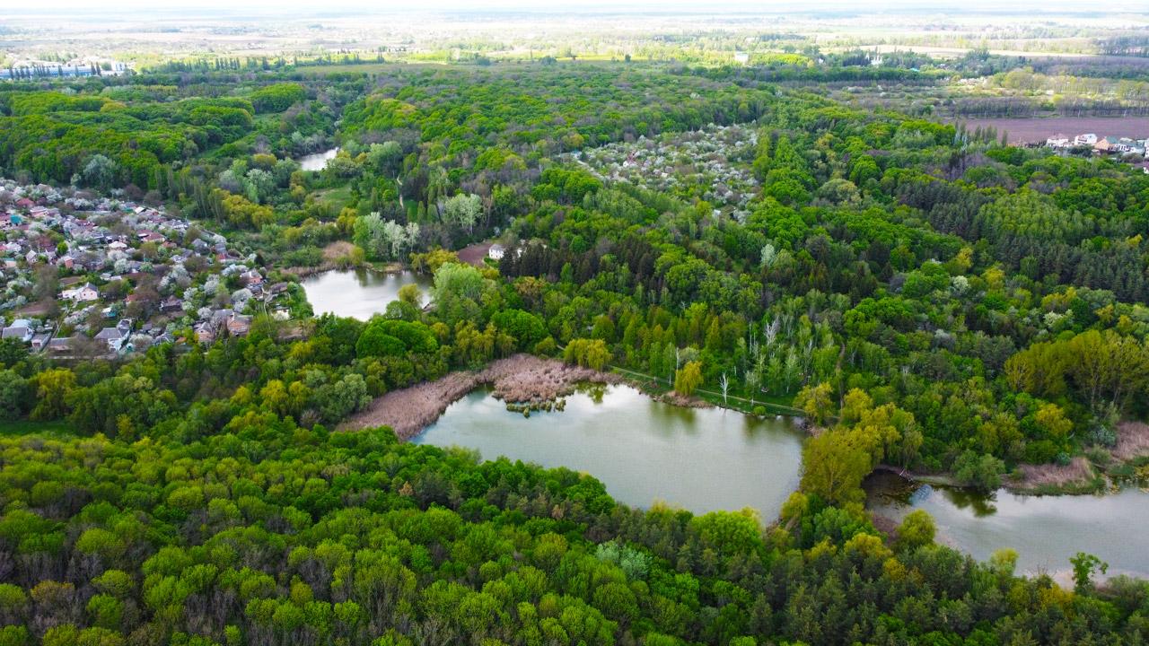 Територія полтавського дендропарку з висоти