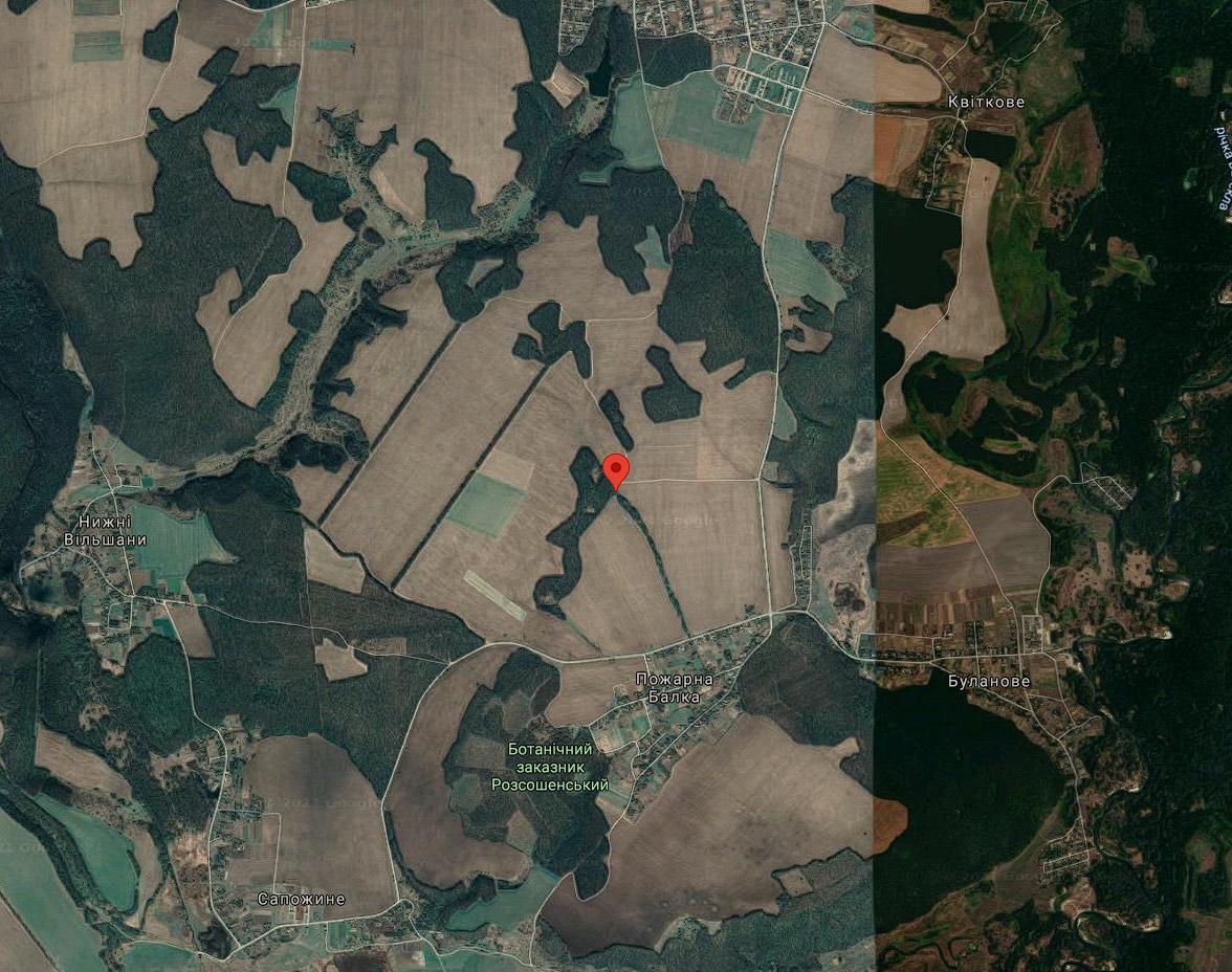 Місце, де здійснювалася порубка — координати: 49.471165 N, 34.528919 Е
