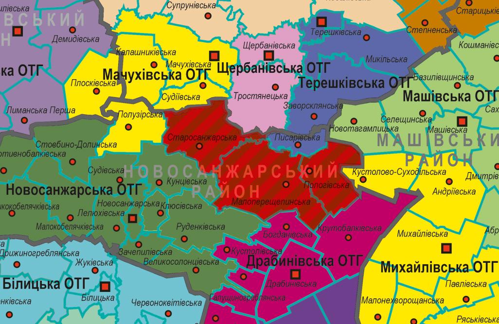 Малаперещепинська, Старосанжарська та Пологівська сільрада на карті громад Полтавської області