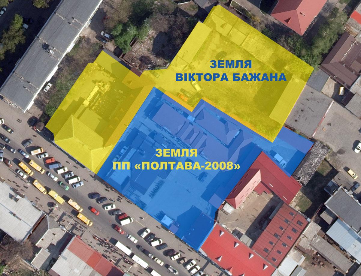 Поділ території довкола «Книжкового ринку» відповідно до кадастрової карти