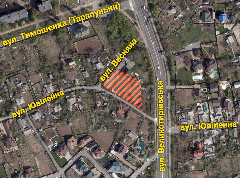 Ділянка на вул. Весняній, на якій хочуть збудувати автомийку