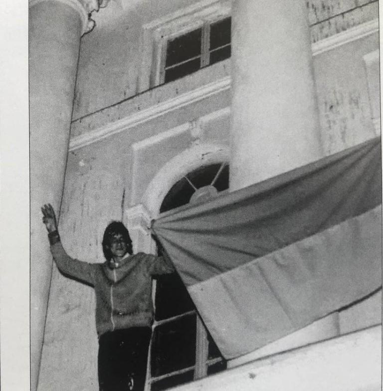 Підняття національного прапора в Полтаві. 27.09.1990