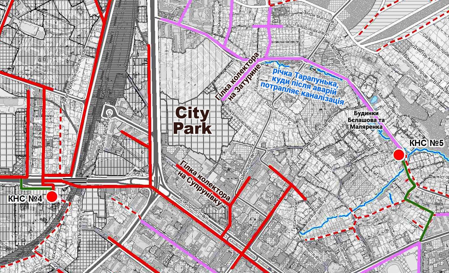 Візуалізація питання. Поблизу City Park проходять аварійні колектори з двох різних очисних. Куди під'єднають нові будинки?